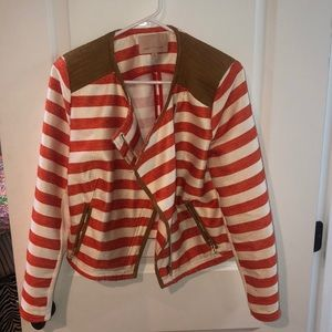 Orange and white striped jacket